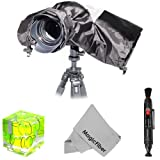 Camera Rain Protector Cover for Large DSLR Cameras (CANON REBEL EOS T3i T2i T1i XT XTi XSi 60D 7D, NIKON D7000 D5100 D5000 D3200 D3000 D90 D80) + Cleaning Pen + Triple Bubble Level + MagicFiber Microfiber Lens Cleaning Cloth