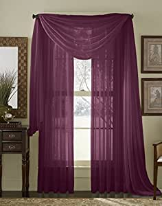 84 Long Sheer Curtain Panel Plum Purple Home Kitchen