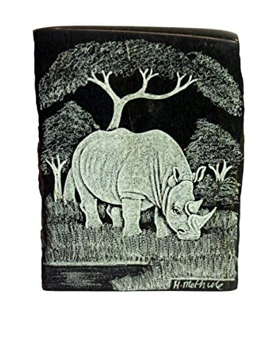 Asian Loft Hand-Carved Rhino Verdite Stone, Green/White