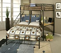 Hot Sale ACME 02030 Winona Twin/Full Bunk Bed with Study Desk, Black Finish