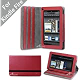 """Acase(TM) Premium Micro Fiber Leather Case with built-in Stand for Kindle Fire Full Color 7"""" Multi-touch Display, Wifi (Red)"""