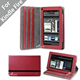 "Acase Kindle Fire Premium Micro Fiber Leather Case with built-in Stand for Kindle Fire Full Color 7"" Multi-touch Display, Wifi (Red)"