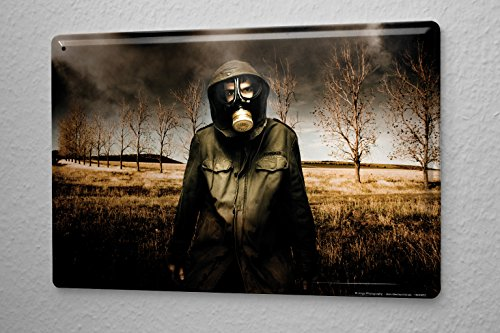 Tin Sign Jorgensen Photography Photo Photos gas mask poncho end poison gas 20x30 cm Large Metal Wall Decoration Vintage Retro Classic Plaque (Gas Mask Picture compare prices)
