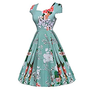 ACEVOG Women's 1950s Cap Sleeve Swing Vintage Floral Party Dresses Multi Colored