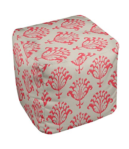 E by design FG-N16-Latte_Coral-18 Geometric Pouf