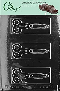 Cybrtrayd J002 Scissors Chocolate Candy Mold with Exclusive Cybrtrayd Copyrighted Chocolate Molding Instructions