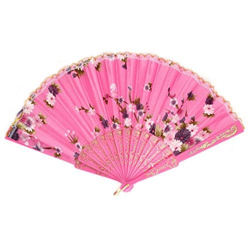 Flower Pattern Lace Trim Plastic Ribs Dancing Folding Hand Fan Pink