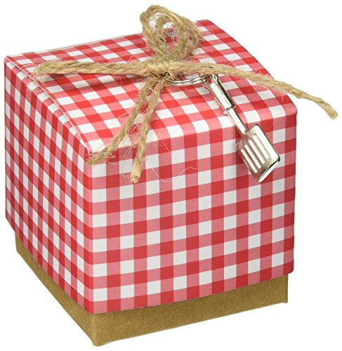 Kate Aspen Red Gingham Favor Box with Spatula Charm, Red/