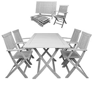 Ensemble table et chaises salon de jardin sydney bois dur for Salon de jardin amazon