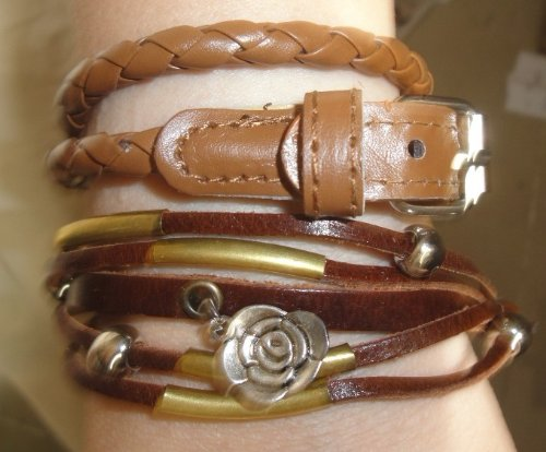 New Women Brown Punk,leather Flower Multi-layered Bracelet