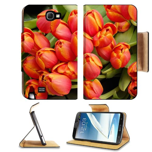 Orange Tulips Arrangement Color Flowers Nature Beauty Fresh Fragrant Samsung Galaxy Note 2 N7100 Flip Case Stand Magnetic Cover Open Ports Customized Made To Order Support Ready Premium Deluxe Pu Leather 6 1/16 Inch (154Mm) X 3 5/16 Inch (84Mm) X 9/16 Inc front-456334