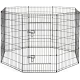 SmithBuilt Premium 8-Panel Black Dog Exercise Play Pen with Door and Carry Bag - 42 in. Tall