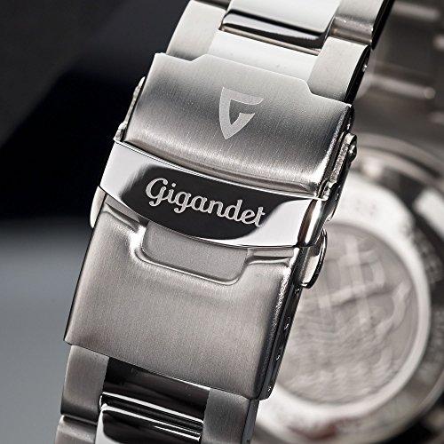Gigandet Automatik Herren-Armbanduhr Sea Ground Taucheruhr Uhr Datum Analog Edelstahlarmband Schwarz Silber G2-002 8