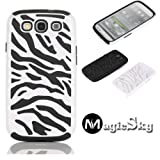 MagicSky Plastic Silicone Hybrid White Zebra Pattern Case for Samsung Galaxy III S3 i9300 - 1 Pack - Retail Packaging - Black