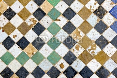 "Wallmonkeys Peel and Stick Wall Decals - Traditional Old Moroccan Tiled Floor in Fes - 24""W x 16""H Removable Graphic"