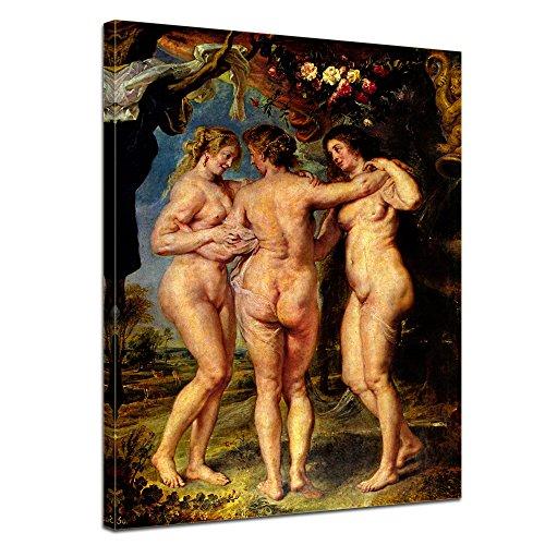 """Bilderdepot24 Leinwandbild Peter Paul Rubens - Alte Meister """"Die drei Grazien """" 50x70cm - fertig gerahmt, direkt vom Hersteller"""