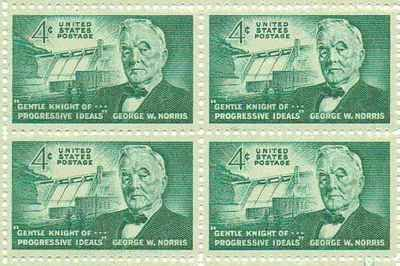 Senator George W. Norris Set of 4 x 4 Cent US Postage Stamps NEW Scot 1184