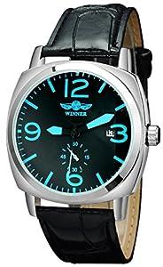 Fanmis Men Automatic Mechanical Calendar Analog Display Black Leather Band Wrist Watch( Blue