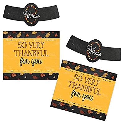 Give Thanks - Thanksgiving Personalized Beer Bottle Label Stickers - Set of 6