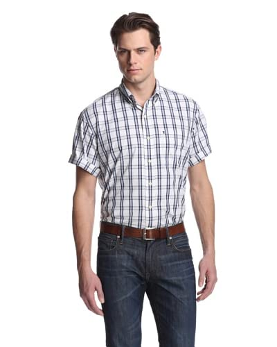 IZOD Men's Short Sleeve Small Check Plaid Woven