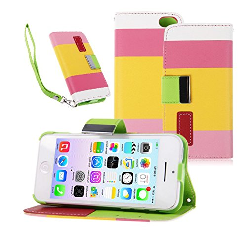 Mylife Sunglow Yellow + Grapefruit Pink Stripes {Modern Design} Faux Leather (Card, Cash And Id Holder + Magnetic Closing + Hand Strap) Slim Wallet For The Iphone 5C Smartphone By Apple (External Textured Synthetic Leather With Magnetic Clip + Internal Se