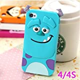 Lovestal Cute Cartoon 3D Disney Monster University Animals Soft Silicone Back Cases Covers for Apple iPhone 4/4S (Blue Monster) + 1psc Lovestal Wristband
