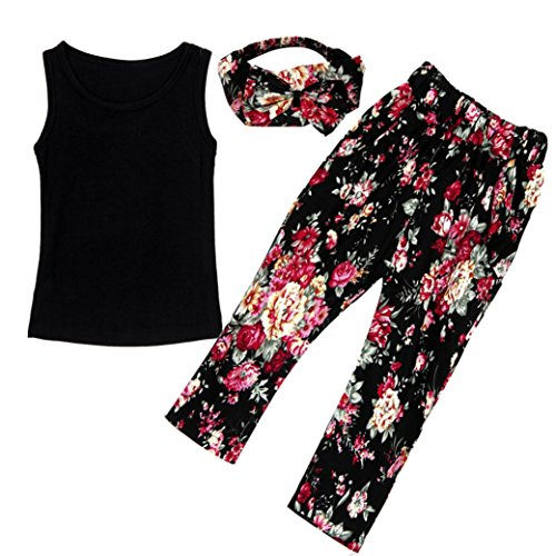 Towallmark Girls Black Sleeveless Vest Tops Floral Pants With Hair Band Set (10 Year Old Girl Clothes compare prices)