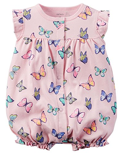 Carter's Baby Girls 1-piece Appliqué Snap-Up Cotton Romper (3 Months, Pink Butterflies)
