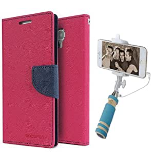 Aart Fancy Diary Card Wallet Flip Case Back Cover For Redmi MI4I - (Pink) + Mini Aux Wired Fashionable Selfie Stick Compatible for all Mobiles Phones By Aart Store