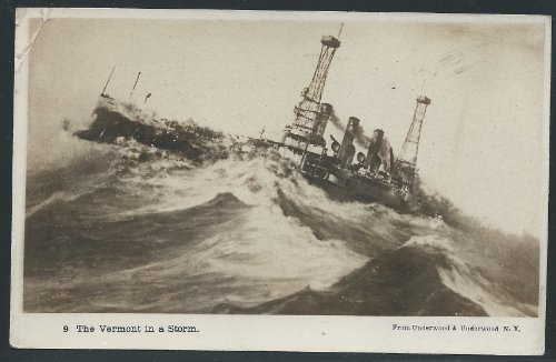 The U.S. Vermont in a Storm, Early Real Photo Picture Postcard, Unused