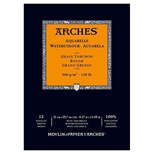 arches-bloc-aquarelle-grain-torchon-a4-300-g-12-pages-naturel-blanc