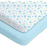 Gerber 2 Pack Cotton Knit Fitted Crib Sheets New Improved Fit Blue/White Cars Design