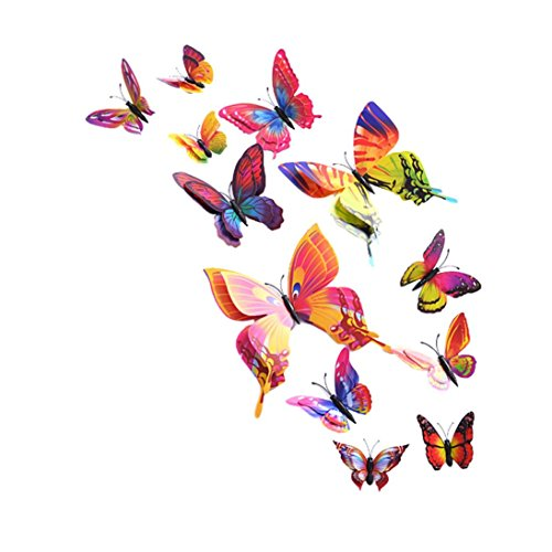 Bigban 12 PC Wall Stickers Decal Butterflies 3D Mirror Wall Art Home Decors (Multicolor) (Double Bedroom Doors compare prices)