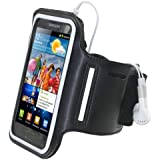 iGadgitz Reflective Neoprene Sports Gym Jogging Armband for Samsung Galaxy S2 i9100 Android Smartphone Mobile Phone - Black