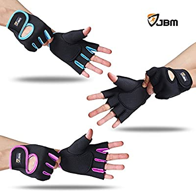JBM Cycling Gym Gloves Fingerless Hand Protector Safe Breathable Lightweight Comfortable Adjustable Durable Cool for Road Biking Motor Racing Cycling BMX Bicycle Riding Mountain Bike Climbing Inline Roller Skating Boating Fishing Hiking from JBM Internati