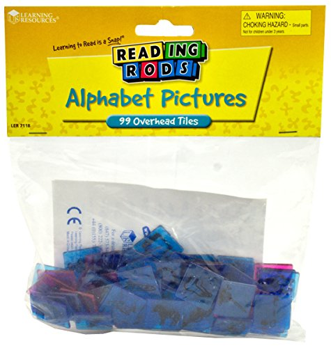 Learning Resources Reading Rods Alphabet Pictures Overhead Picture Tiles, 99/pack (LER 7118)