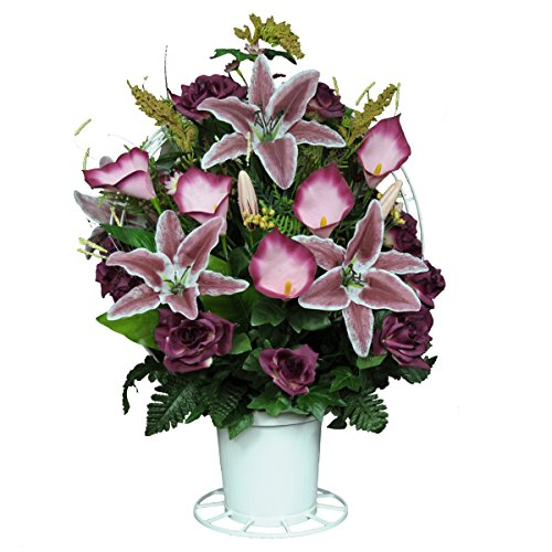 Burgundy Open Roses with Stargazer Lilies Silk Flower Basket by Sympathy Silks® (BA1565) (Funeral Flowers With Basket Stand compare prices)