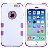 myLife Dazzling Purple and White {Bright Two-toned 3 Piece Slim Design} Neo Hybrid Armor Case for the NEW iPhone 6 (6G) 6th Generation Phone by Apple, 4.7