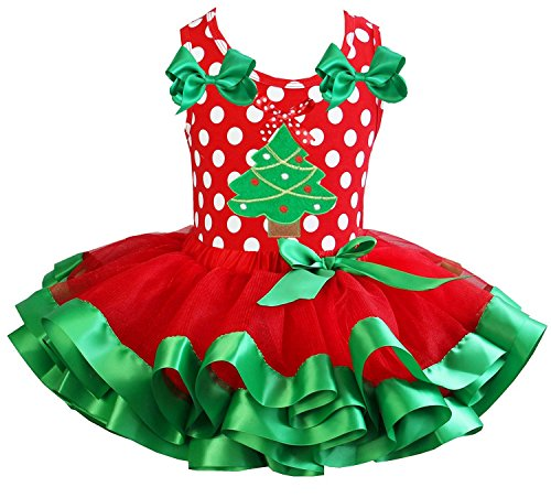Kirei Sui Girls Red Green Satin Tutu Xmas Tree Polka Dots Tank Top Party Dress