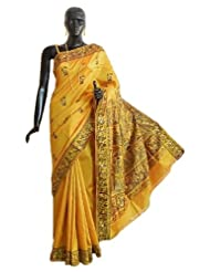 Golden Yellow Baluachari Silk Saree with All-Over Boota and Woven Mahabharata Scene on the Pallu and Border -...
