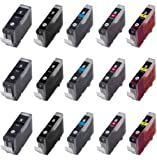 15 Pack - 3x PGI-5 Black, CLI-8 Black Cyan Magenta Yellow Compatible Ink Cartridges for Canon Pixma iP4200 iP4200R iP4300 iP4500 iP5200 iP5200R iP5300 MX850 MP500 MP530 MP600 MP600R MP610 MP800 MP800R MP810 MP830 MP950 MP960 MP970