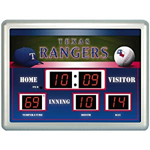Texas Rangers Time Date Temp. Scoreboard by Team Sports America