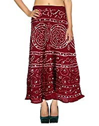 Classic Casual Skirt Cotton Maroon Ethnic Tie Dye For Women By Rajrang