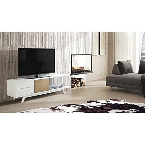 AMUEBLALO - Mueble TV 1 puerta 2 cajones Adri - Blanco/roble, 150x40x48, Dm lacado / roble