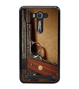 Fuson Premium 2D Back Case Cover GUN With Brown Background Degined For Asus Zenfone 2 Laser ZE500KL::Asus Zenfone 2 Laser ZE500KL (5 Inches)