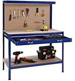 VonHaus Heavy Duty Steel Workbench Worktable Workshop Station with Drawer and Pegboard + FREE 12 Pegs Massive Capacity 230 kg (120L x 60W x 155H cm)