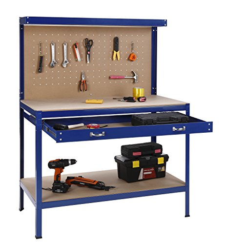 51yJttvrrYL - BEST BUY #1 VonHaus Steel Boltless Workbench Worktable Workshop Station with Drawer and Pegboard + FREE 12 Pegs Massive Capacity 230 kg (120L x 60W x 155H cm): Free 2 Year Warranty