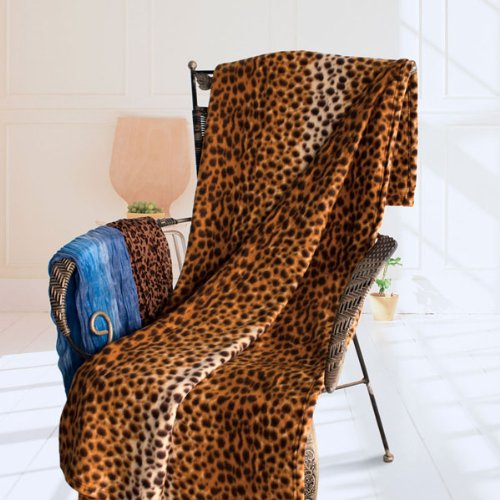 [Leopard Grain] Soft Coral Fleece Throw Blanket (59 by 71 inches)