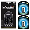 InfaPower Home Battery Charger for AA/AAA/PP3 9V batteries with 2 x 9V (PP3) Digimax batteries