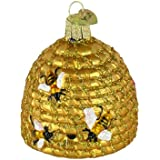Bee Skep Blown Glass Christmas Ornament.